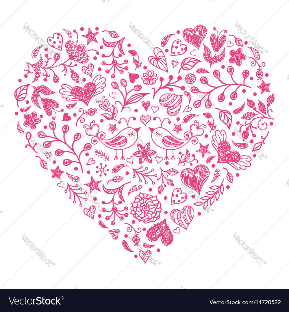 Pink valentines heart vector image
