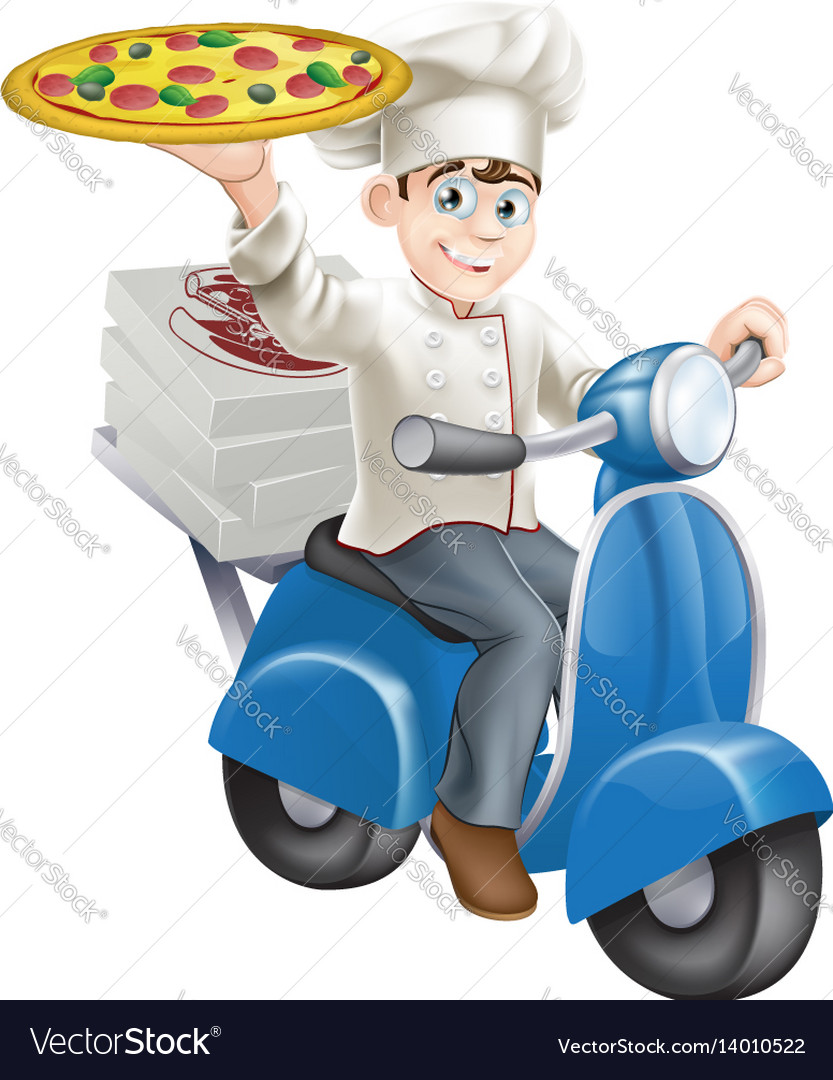 Pizza chef moped delivery vector image