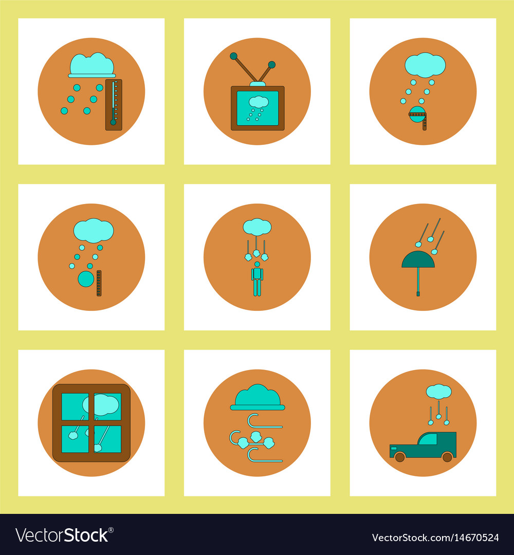 Collection of icons in flat style weather and