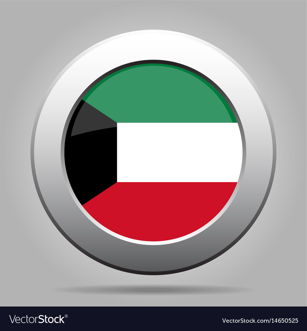 Flag of kuwait shiny metal gray round button vector image