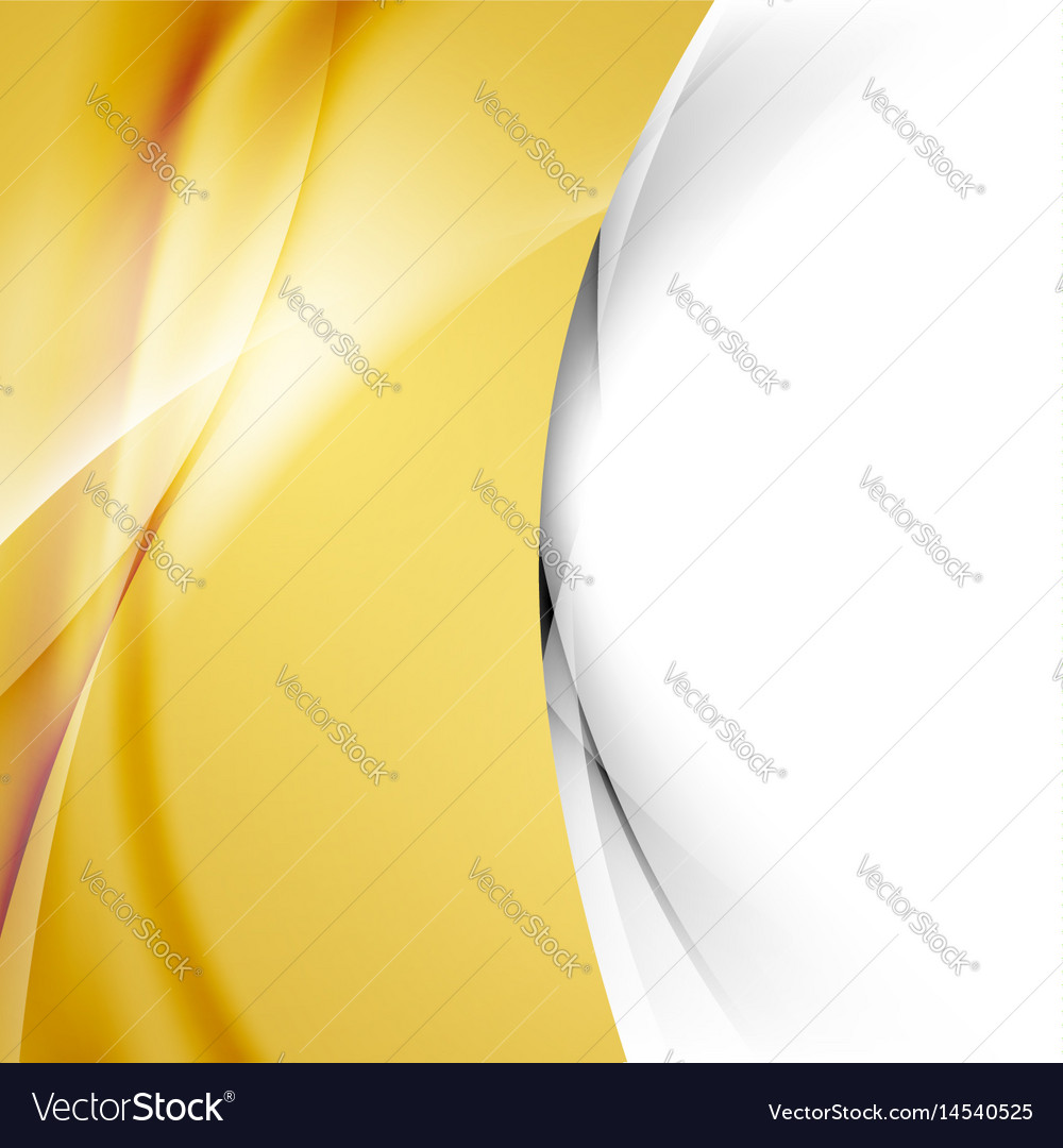 Golden smooth swoosh wave abstract border vector image