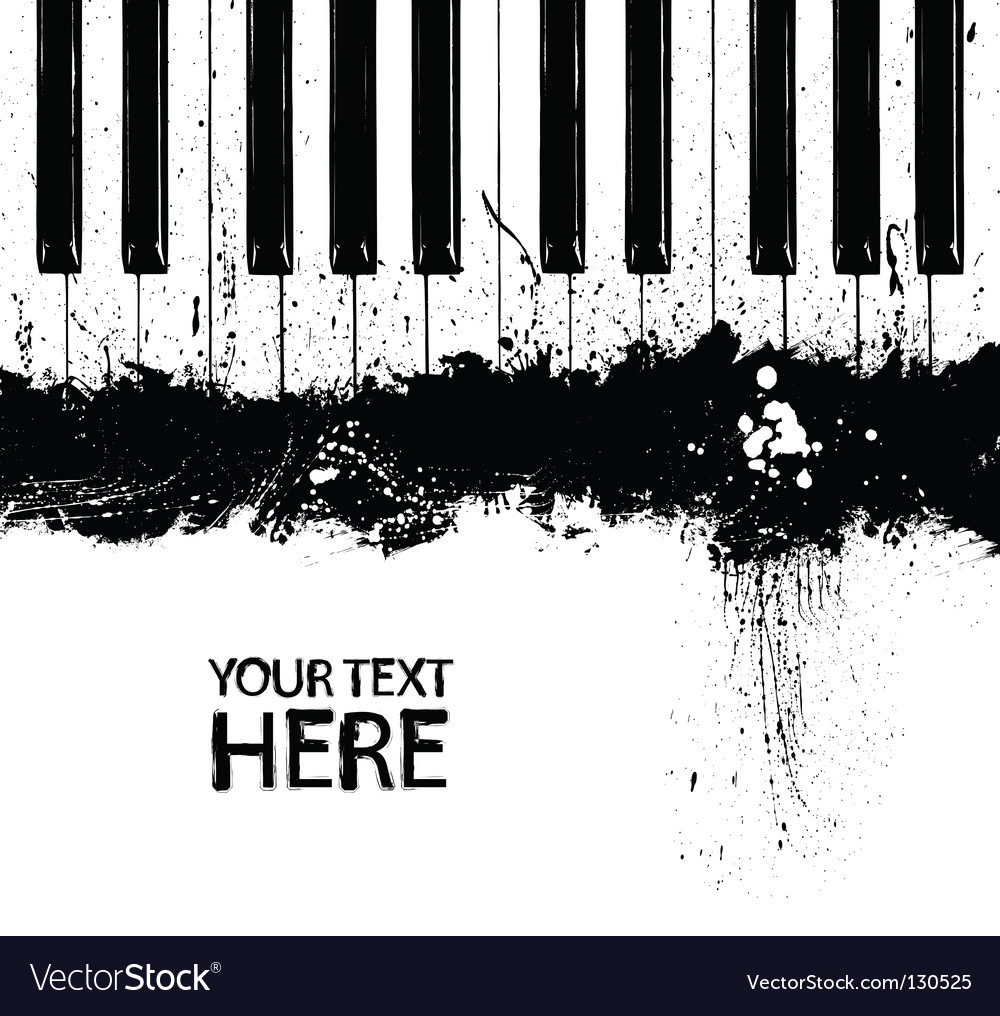 Grunge piano keys vector image