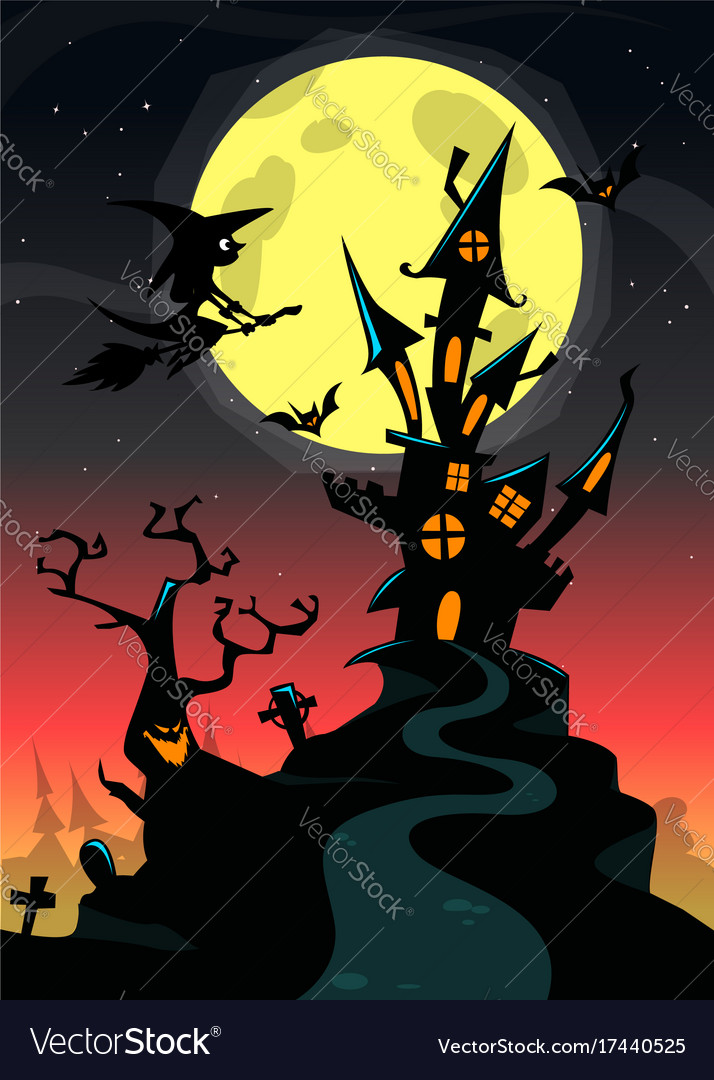 Halloween haunted house cartoon Royalty Free Vector Image