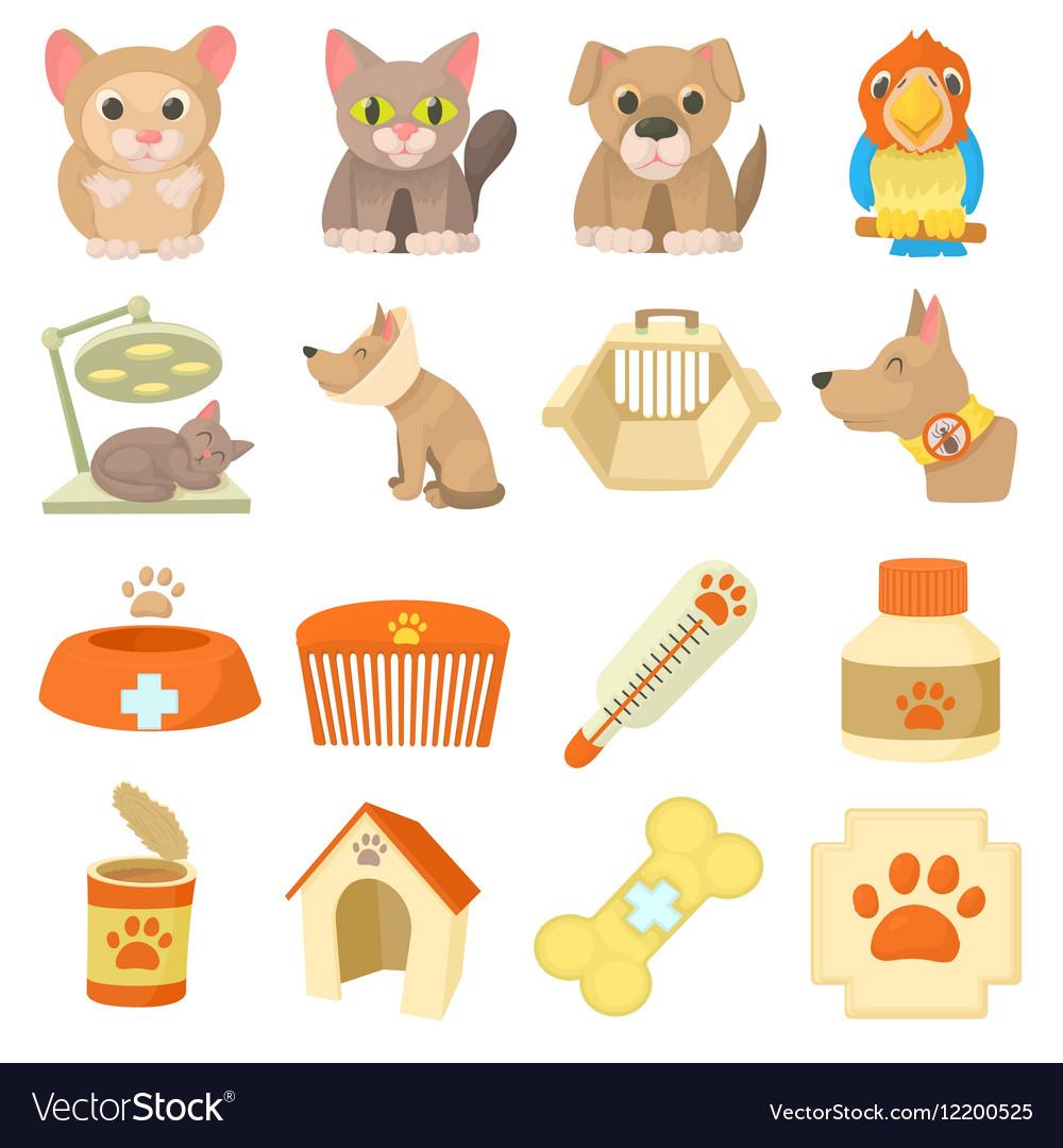 Veterinary clinic items icons set cartoon style vector image