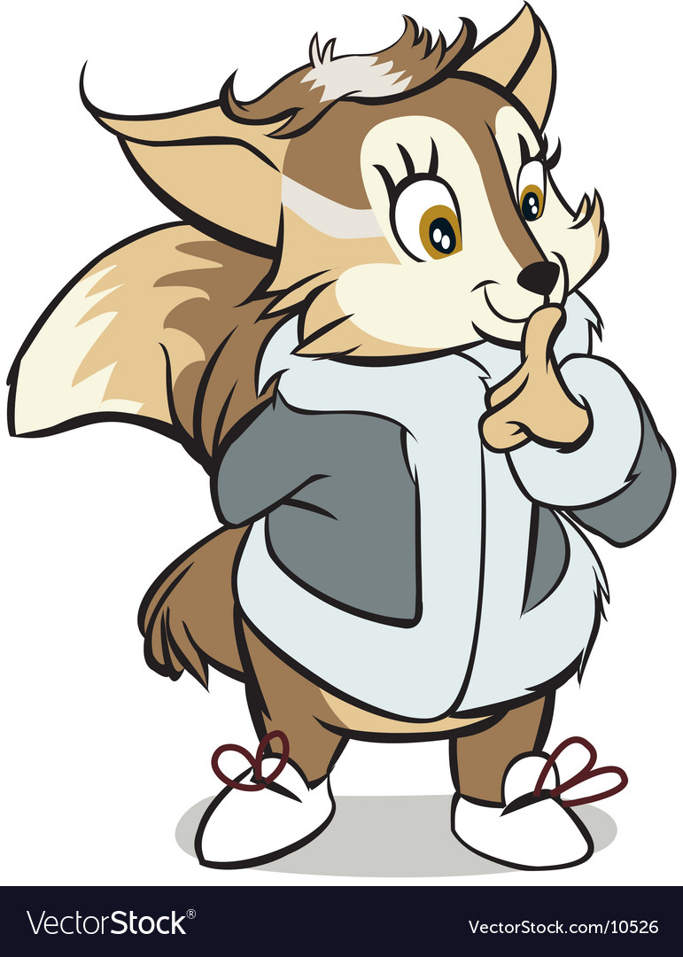 Cartoon fox with winter jacket vector image