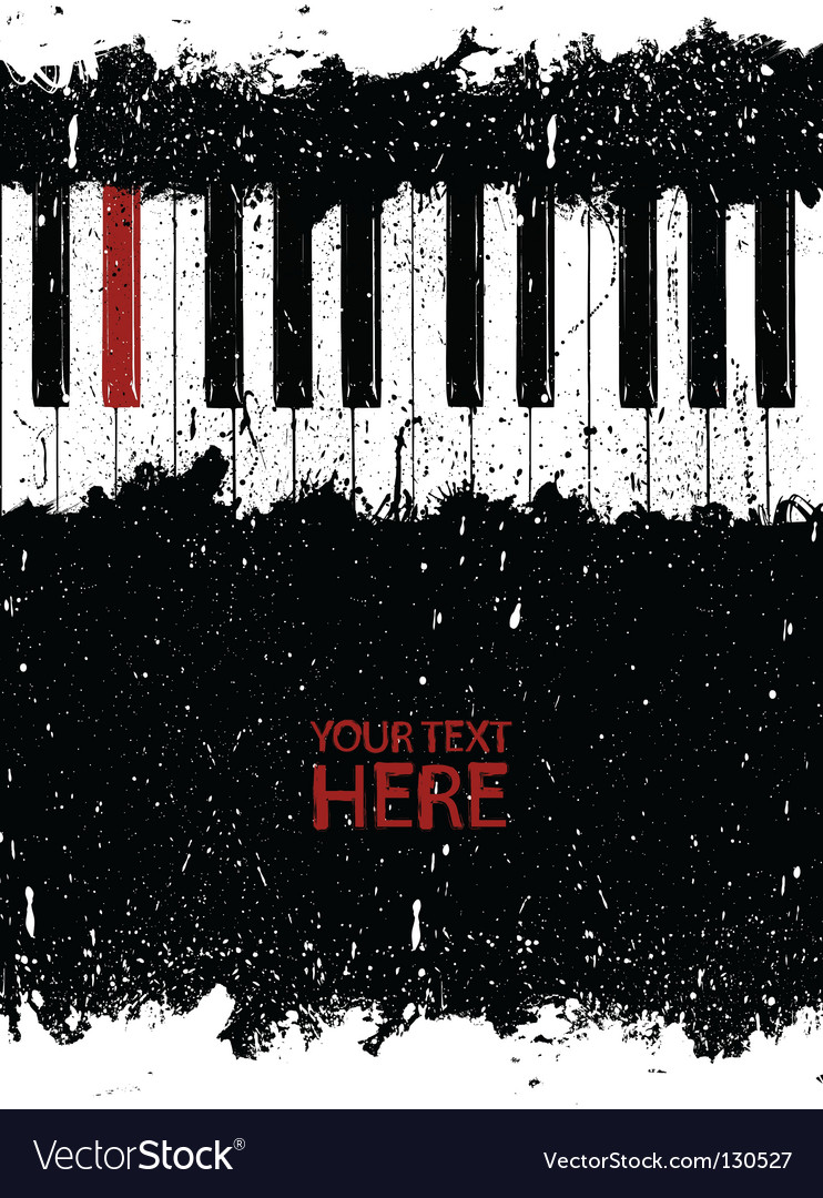Grunge piano key vector image