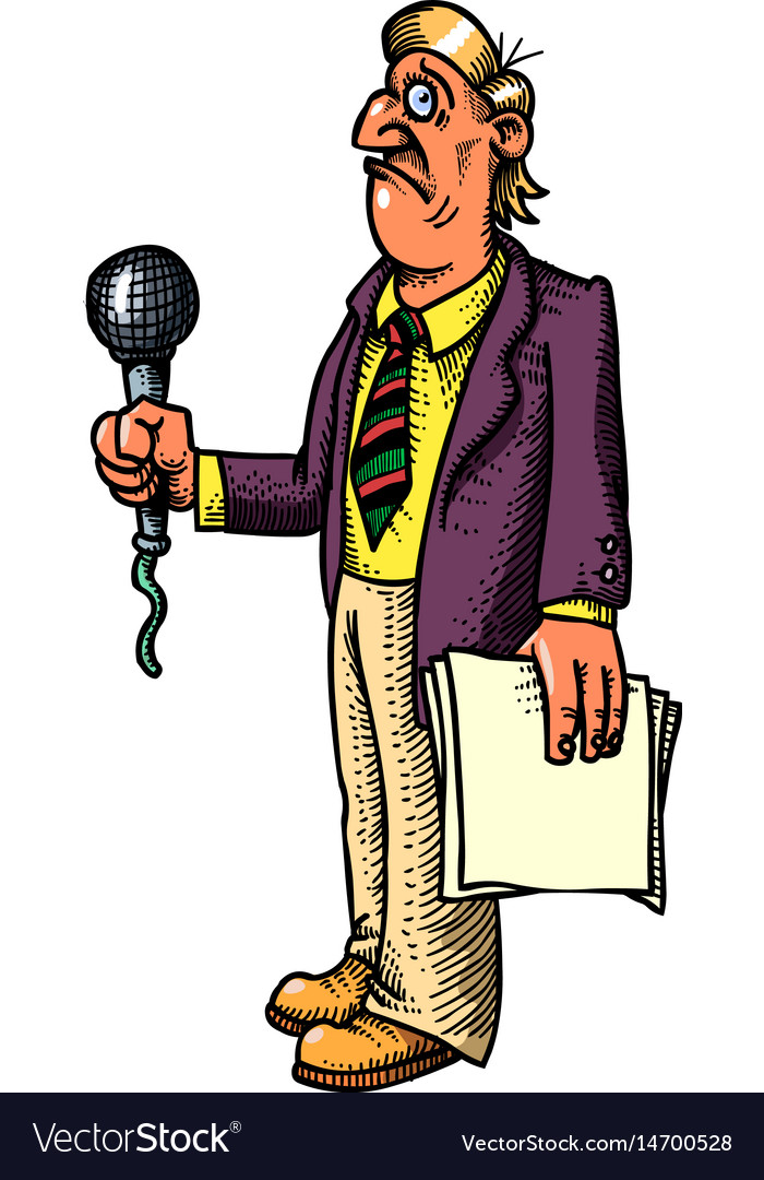Cartoon image of stressed reporter vector image