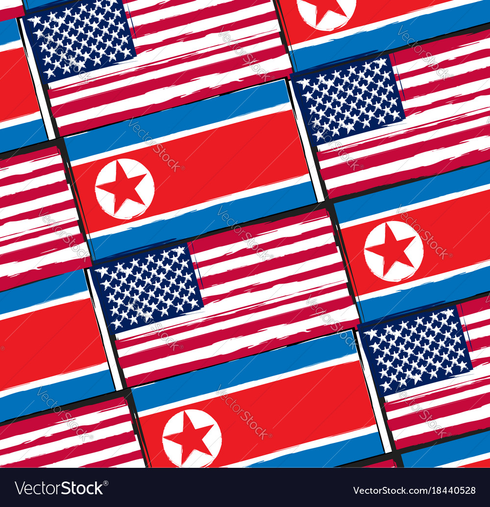 Usa And North Korea Flags Or Banner Royalty Free Vector - north flags