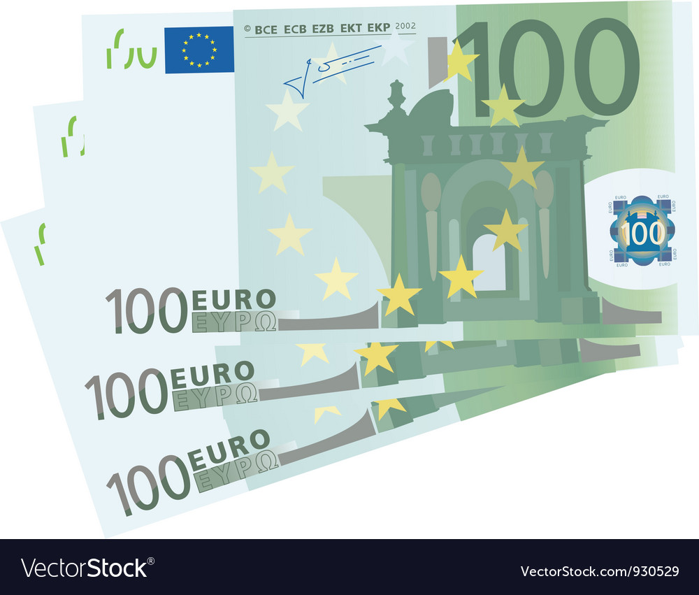 Drawing of a 3x 100 Euro bills vector image