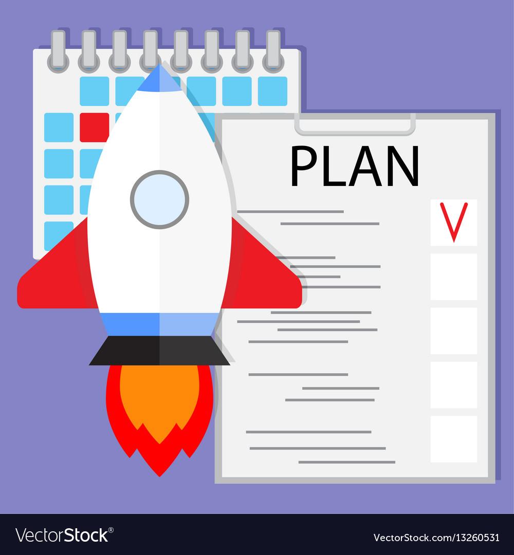 Schedule startup launch plan vector image
