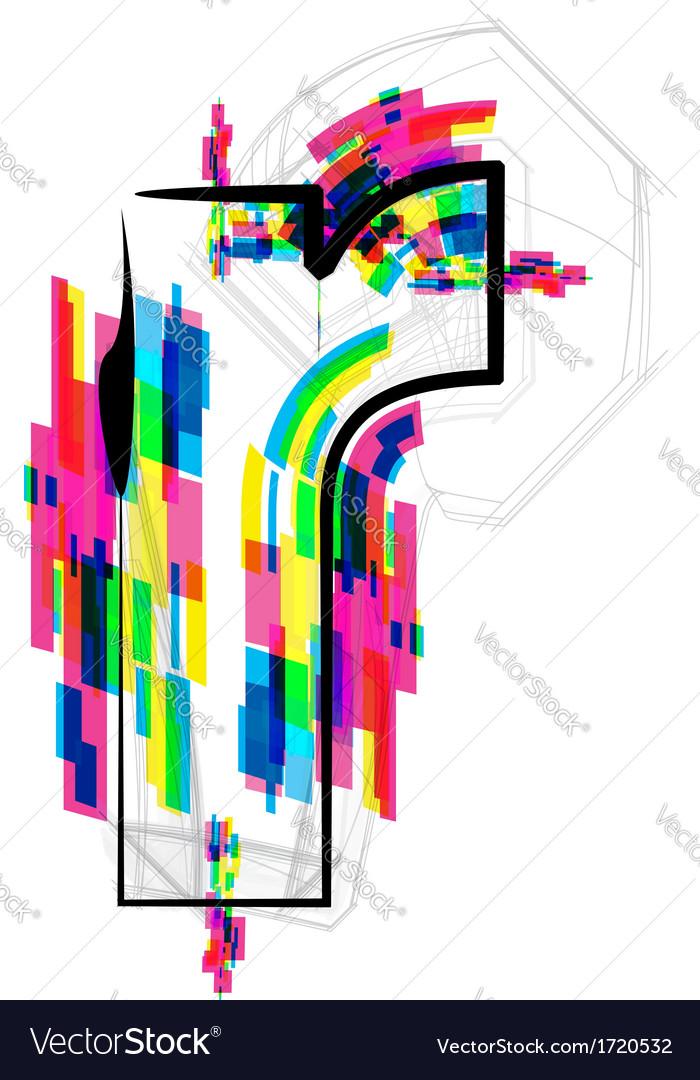 Colorful Font - Letter r vector image