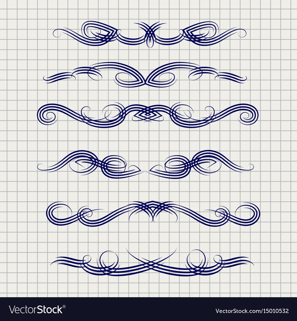 Pen decorative filigree swirled ornaments vector image