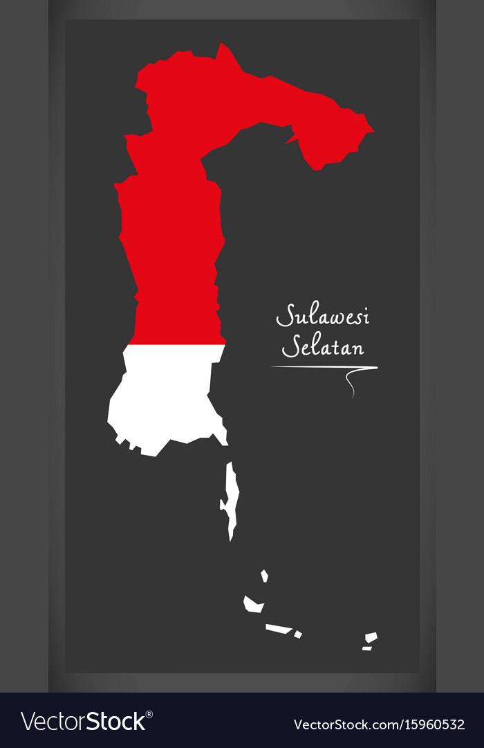 Sulawesi selatan indonesia map with indonesian vector image