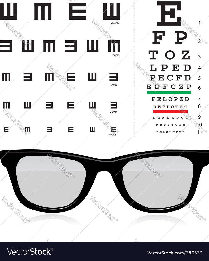 Vector snellen eye test chart vector image