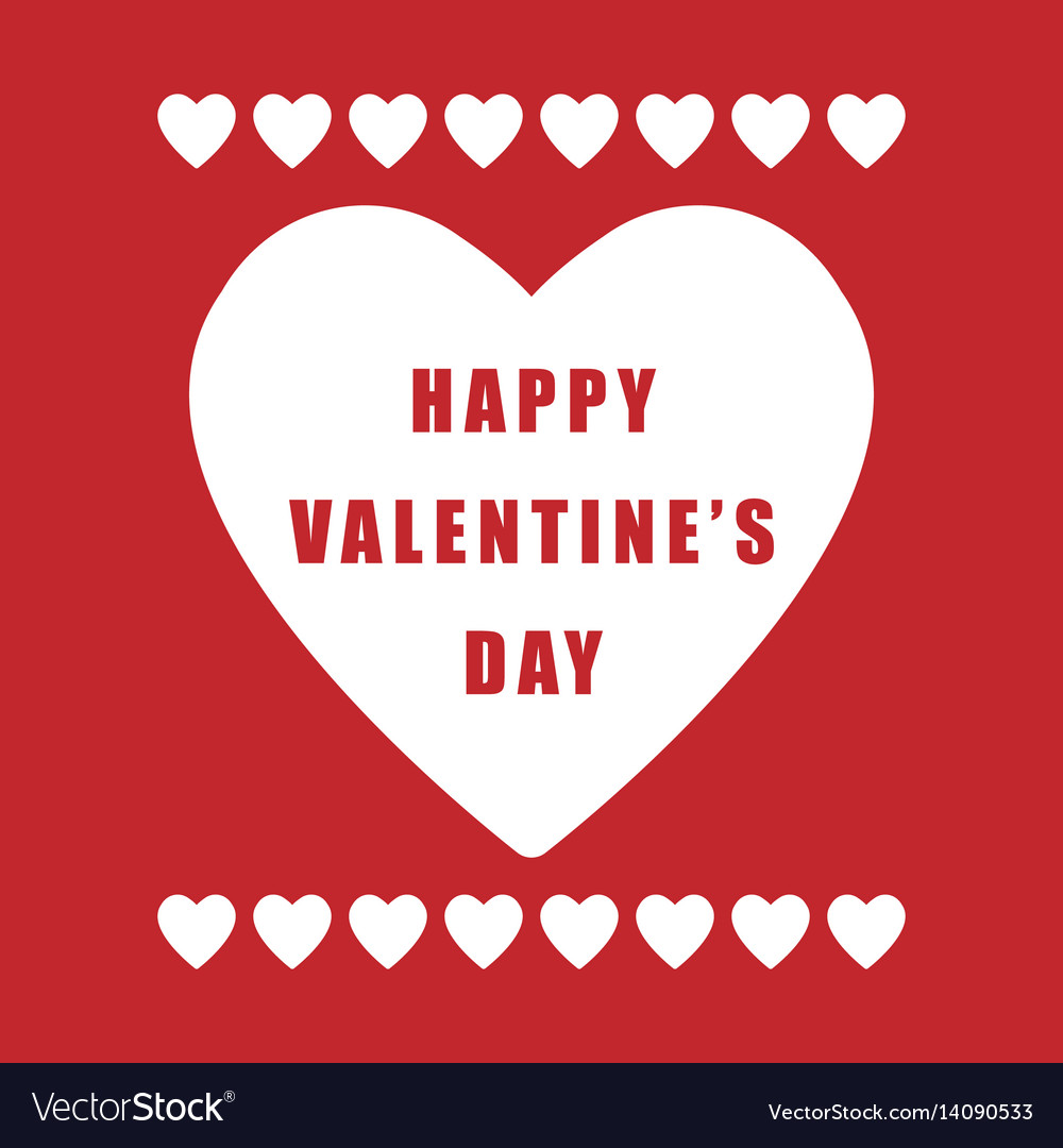 Valentine day simple retro poster on red vector image