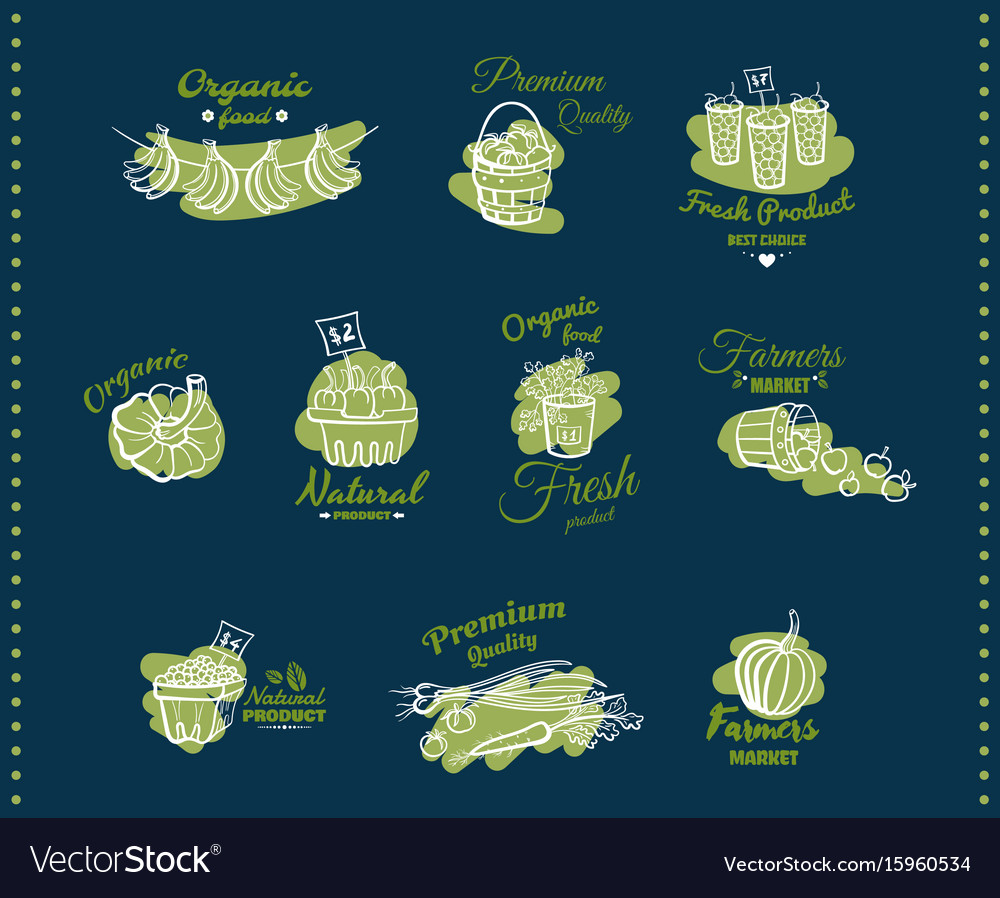 Natural organic food emblems vector image