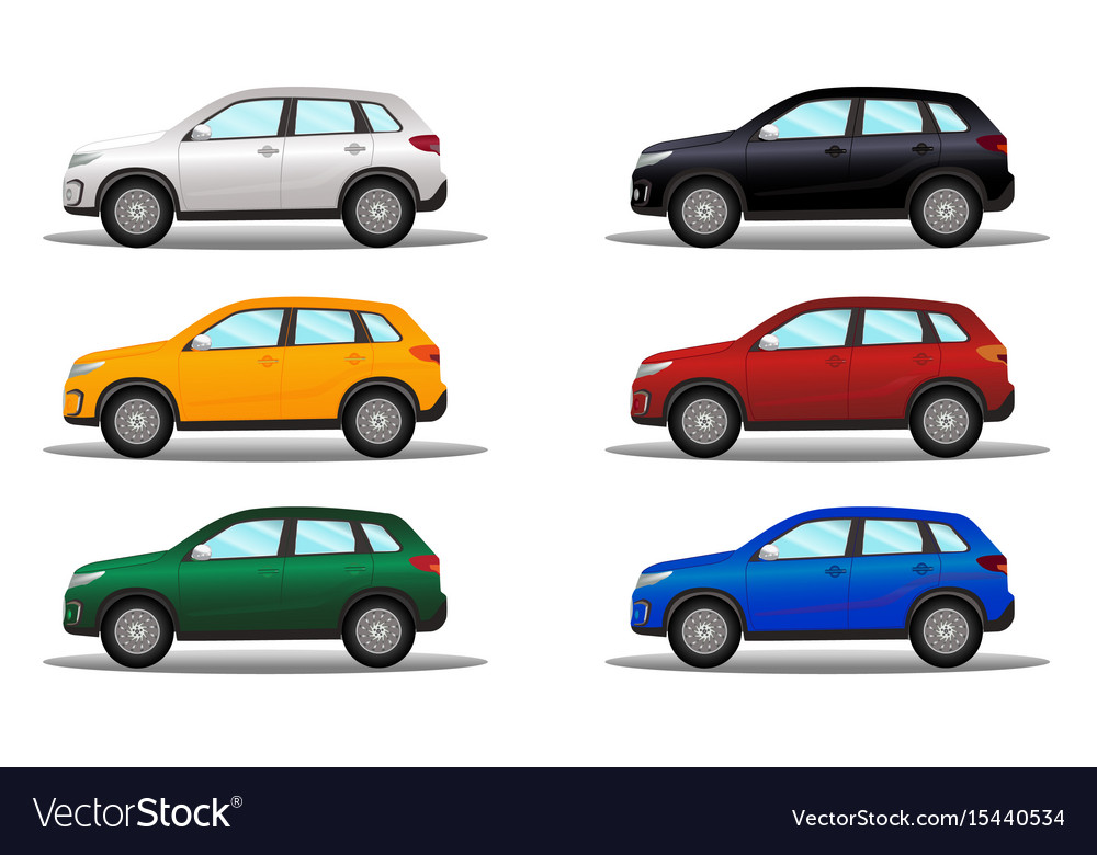 Set of terrain vehicles in different colors vector image