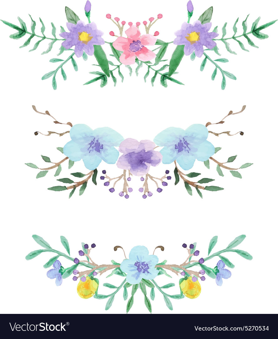 Watercolor Floral Border Set Royalty Free Vector Image