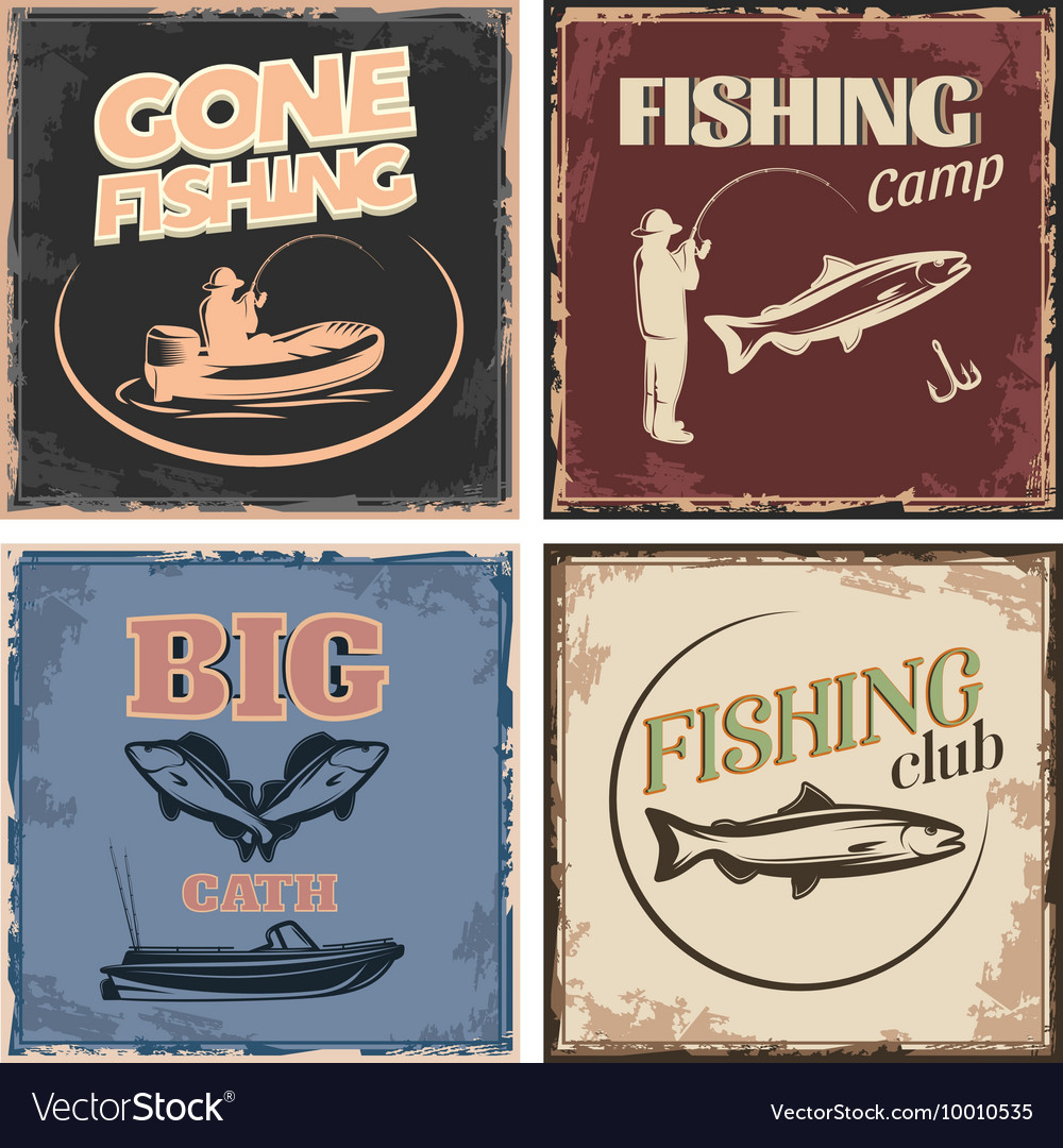 Fishing Retro Compositions vector image