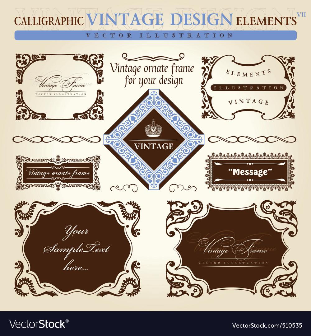 Vintage frame ornament set vector element decor vector image