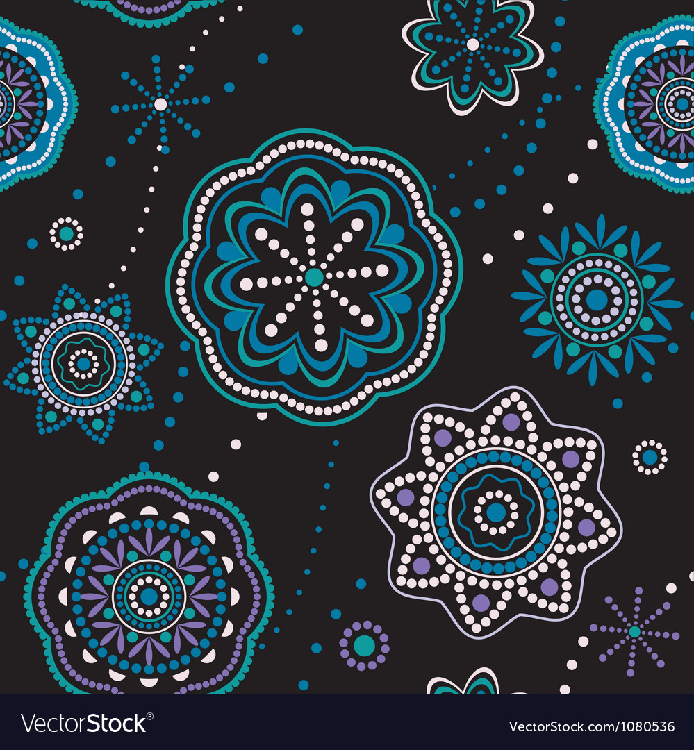 Decorative snowflakes seamless pattern vector image