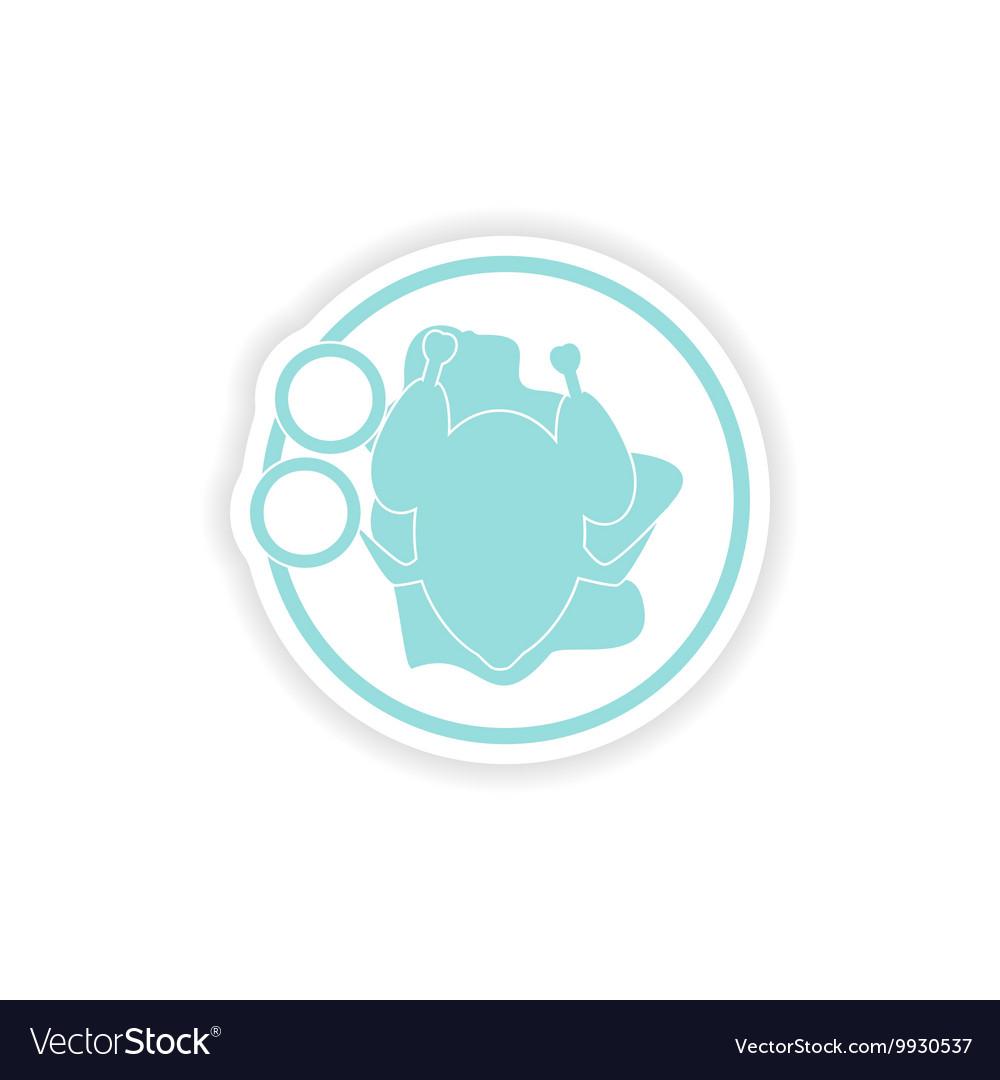 Paper sticker on white background chicken dish
