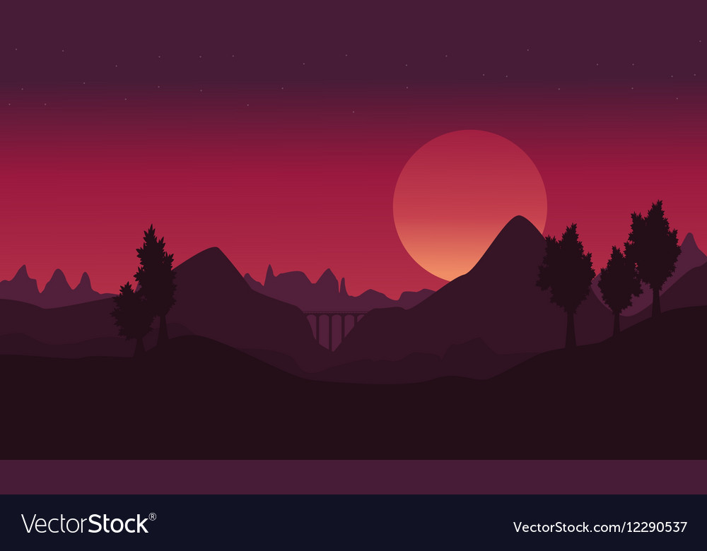 Cliff and bridge at night landscape backgrounds vector image