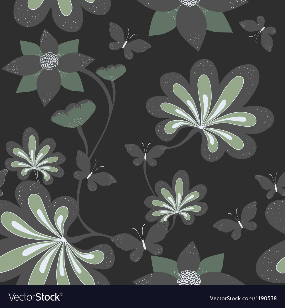 Seamless background with butterfly ang flower vector image