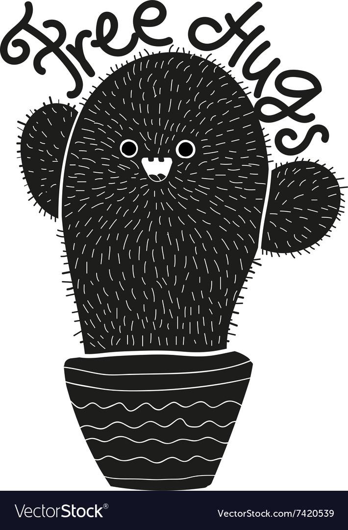 Free hugs cactus cartoon design vector image