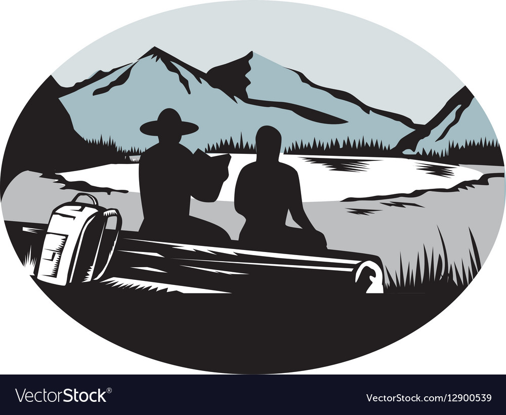 Two Trampers Sitting on Log Lake Mountain Oval vector image