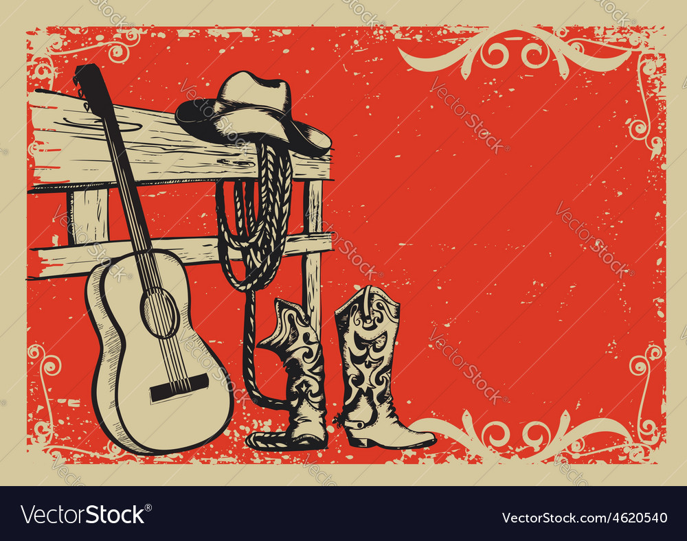 Vintage poster with cowboy clothes and music vector image