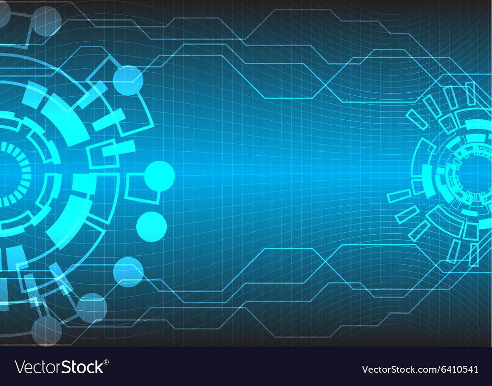 Abstract Circuit Board Background By Silvertiger: Abstract Tech Bg Two Circle Royalty Free Vector Image