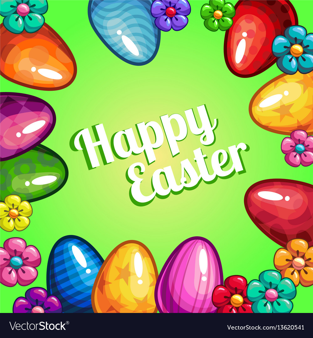 Greeting card with easter vector image