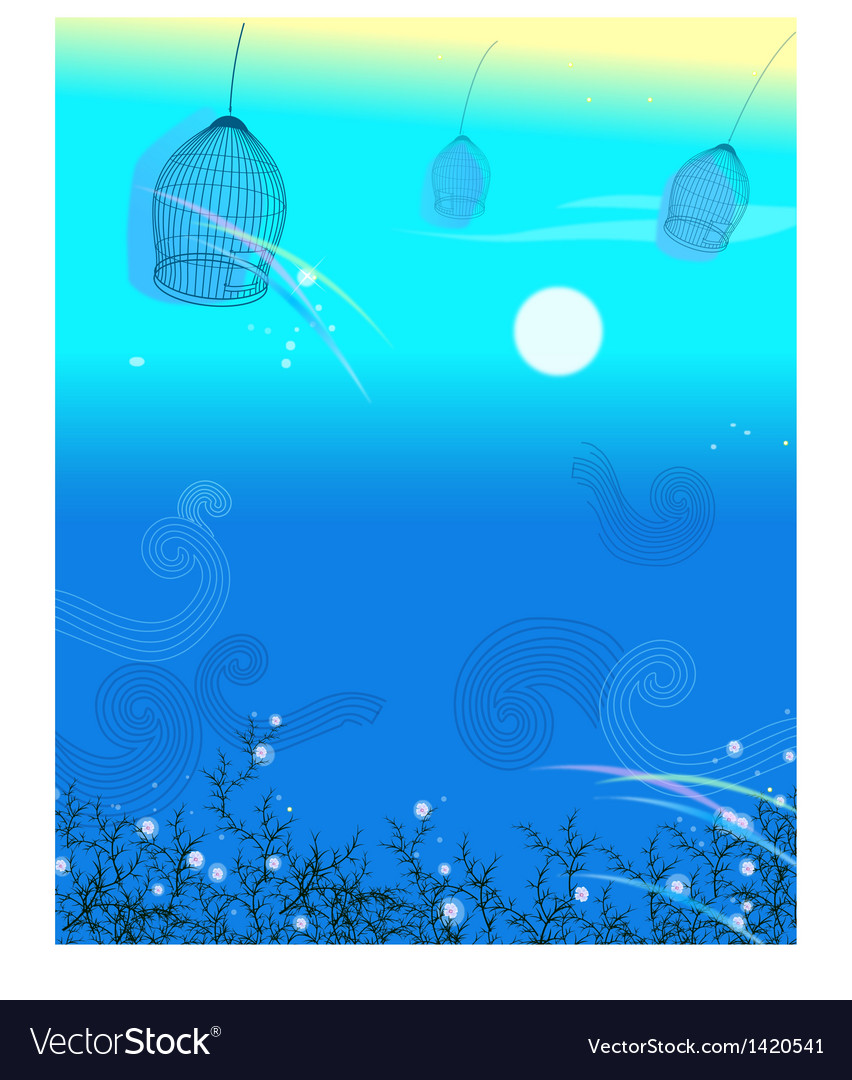 Sky bird cages vector image