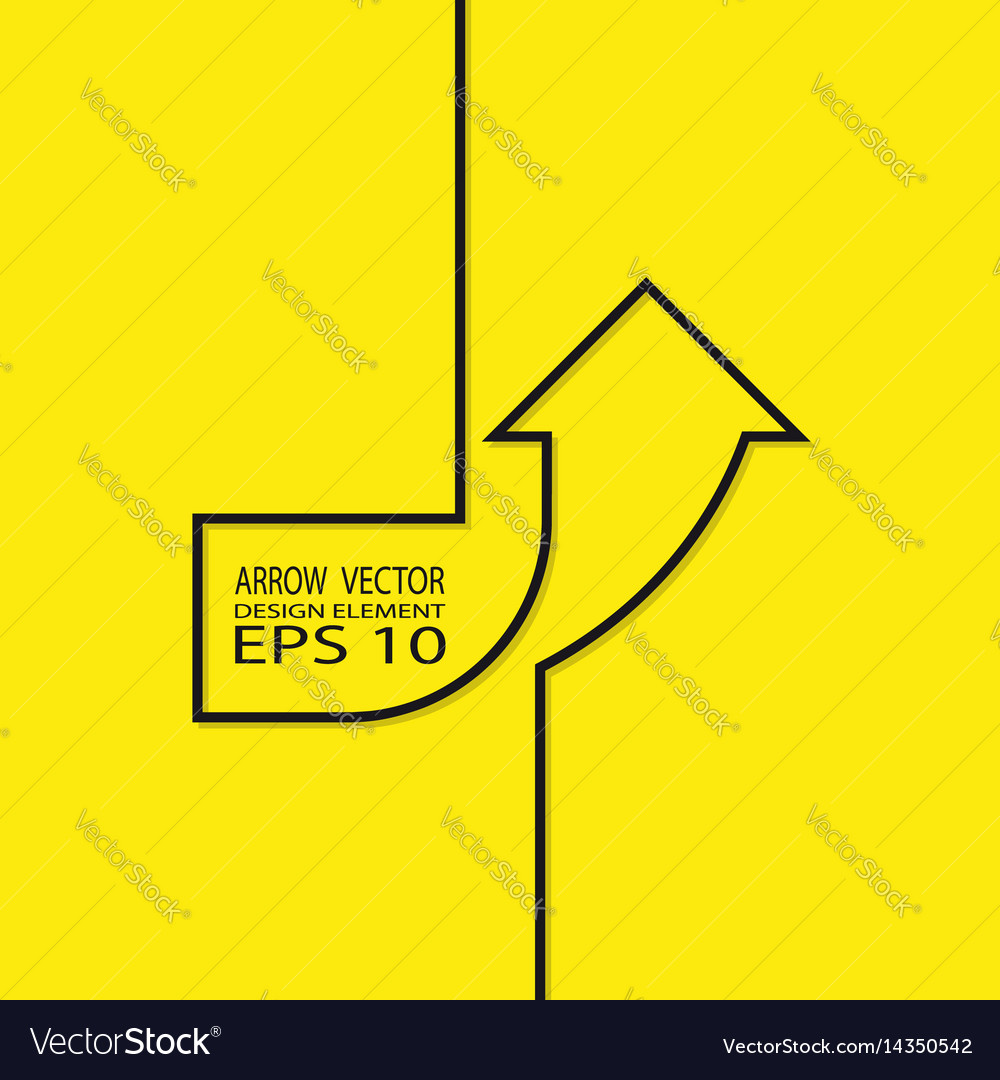 Arrow up contour on a yellow background design vector image