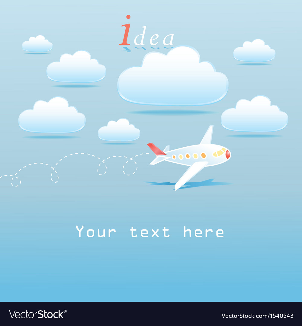 Clouds and airplane vector image