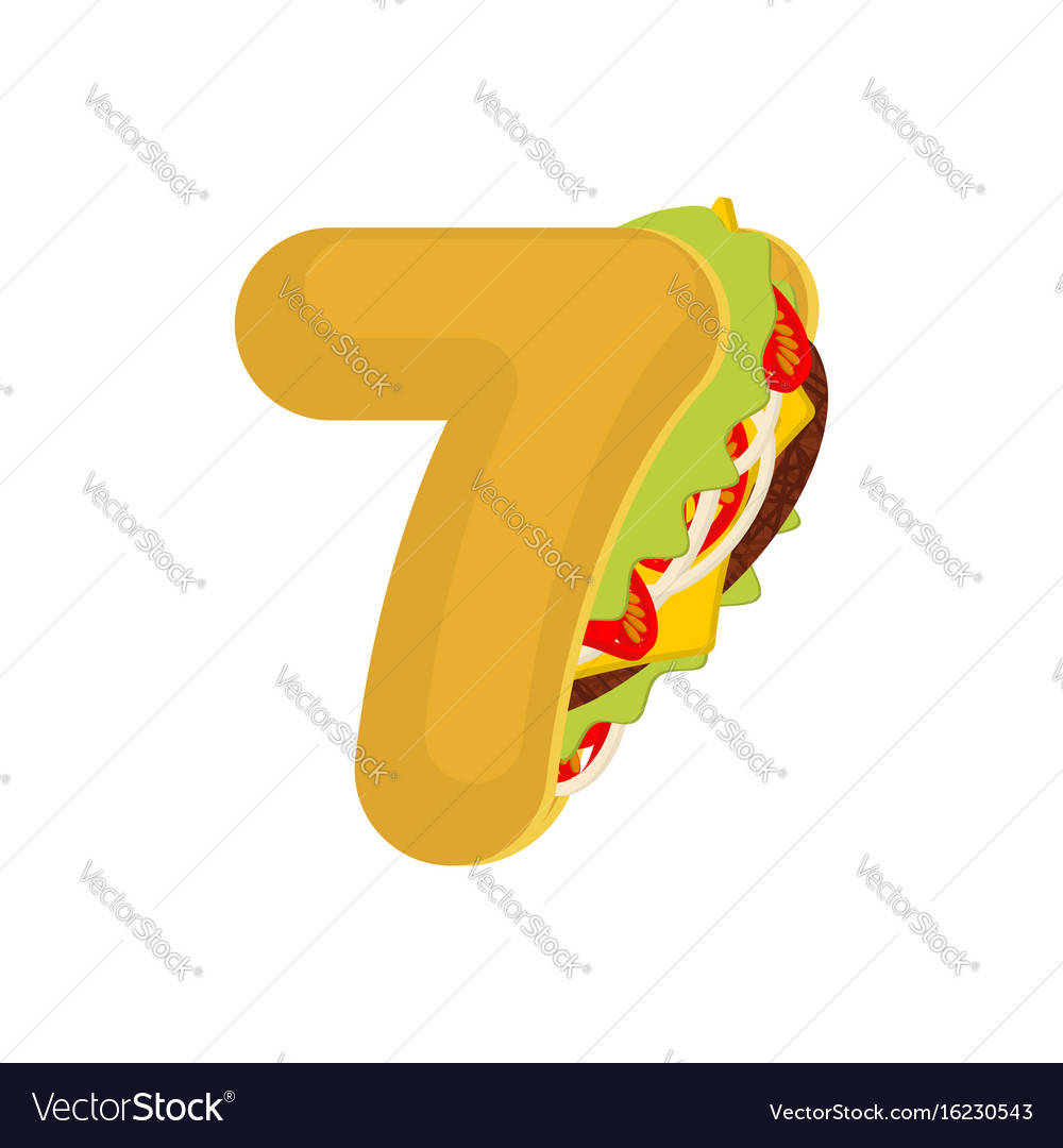 Number 7 tacos mexican fast food font seven taco vector image