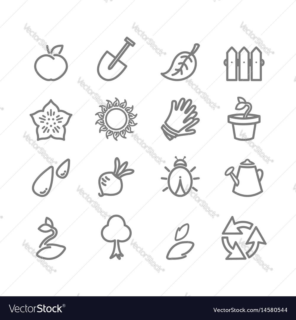 Gardening flat icons set vector image