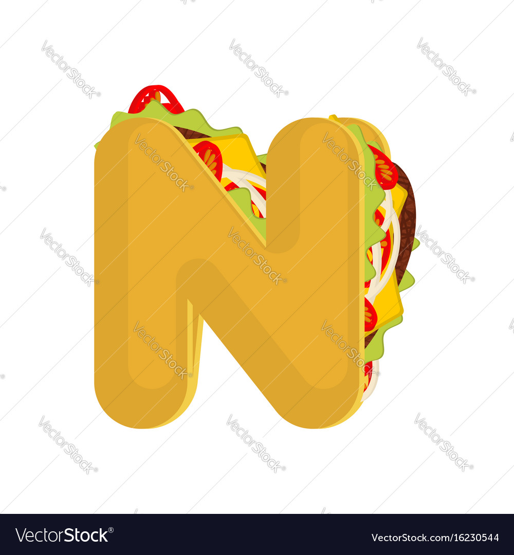 Letter n tacos mexican fast food font taco vector image