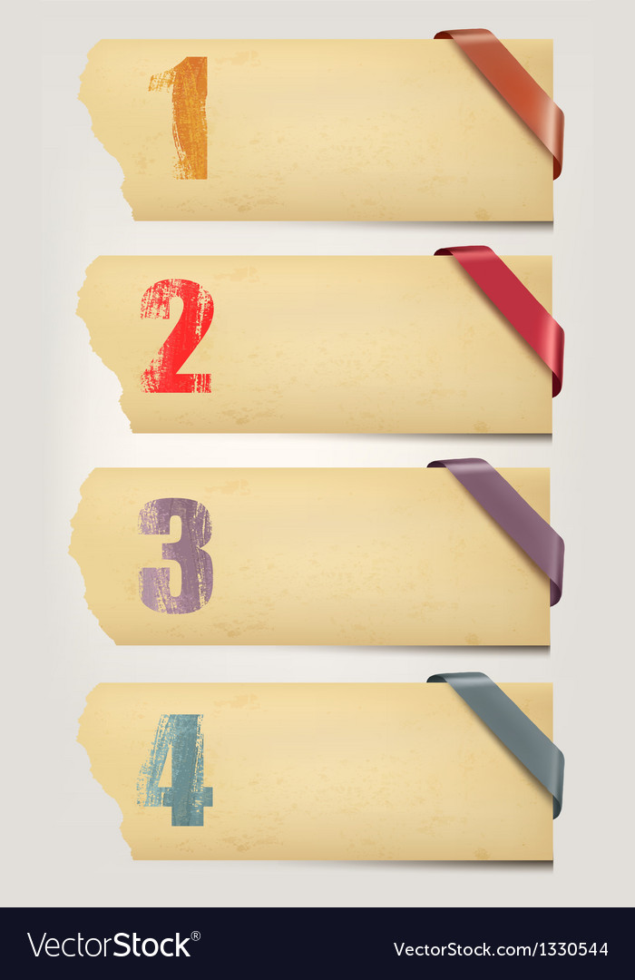 Set of retro cardboard paper banners with color vector image