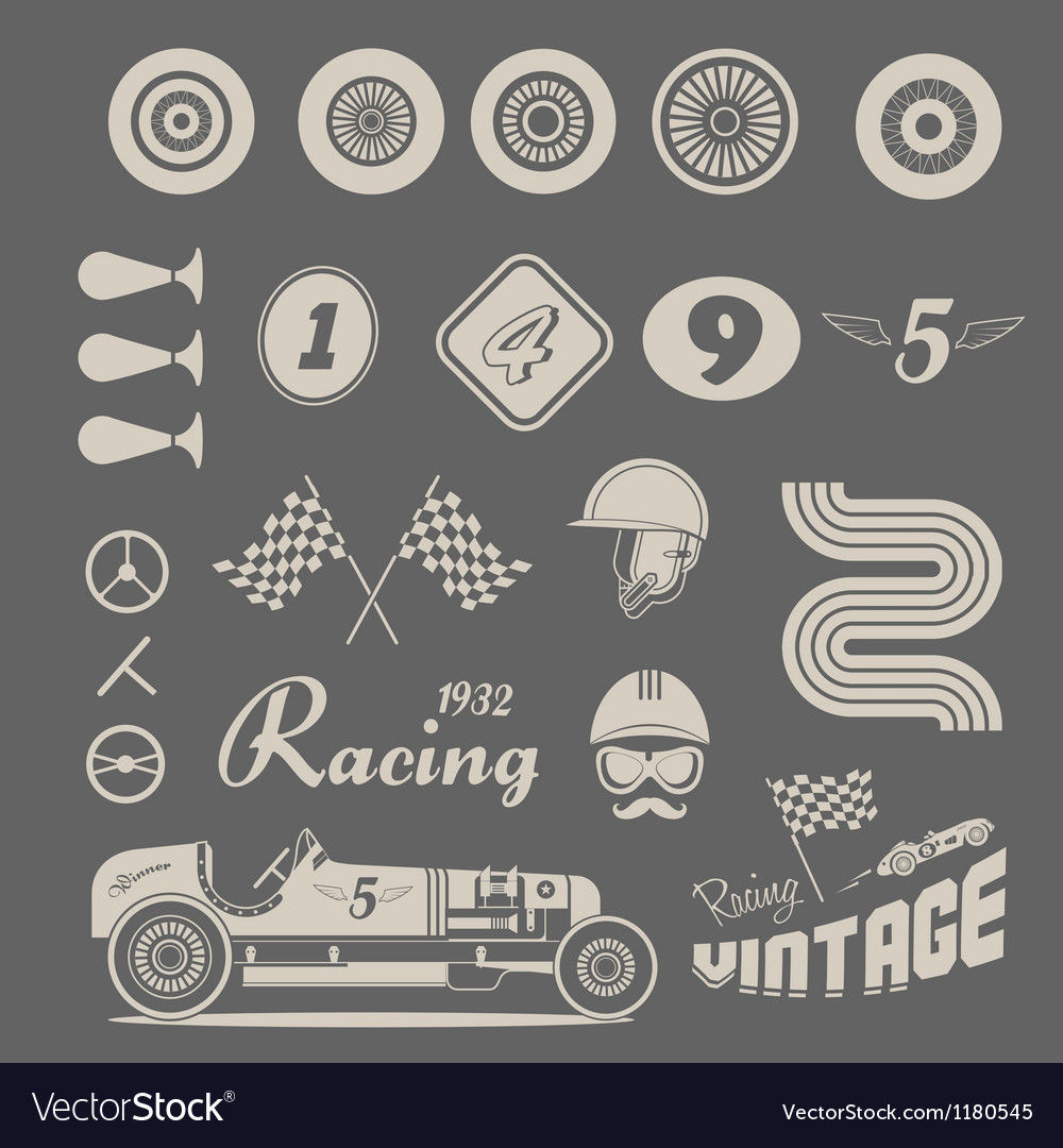 Icons of vintage car racing Vector Image