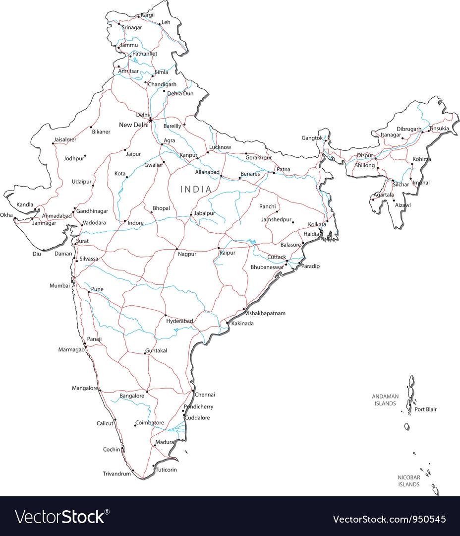 India Black White Map vector image