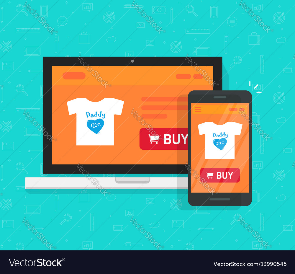 Responsive internet shop development design vector image