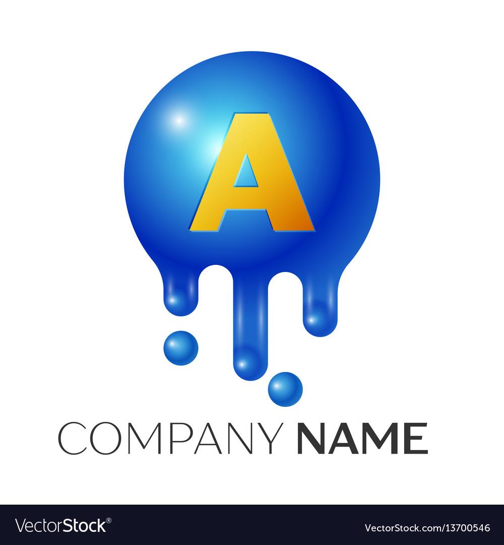 A letter splash logo blue dots and bubbles letter vector image