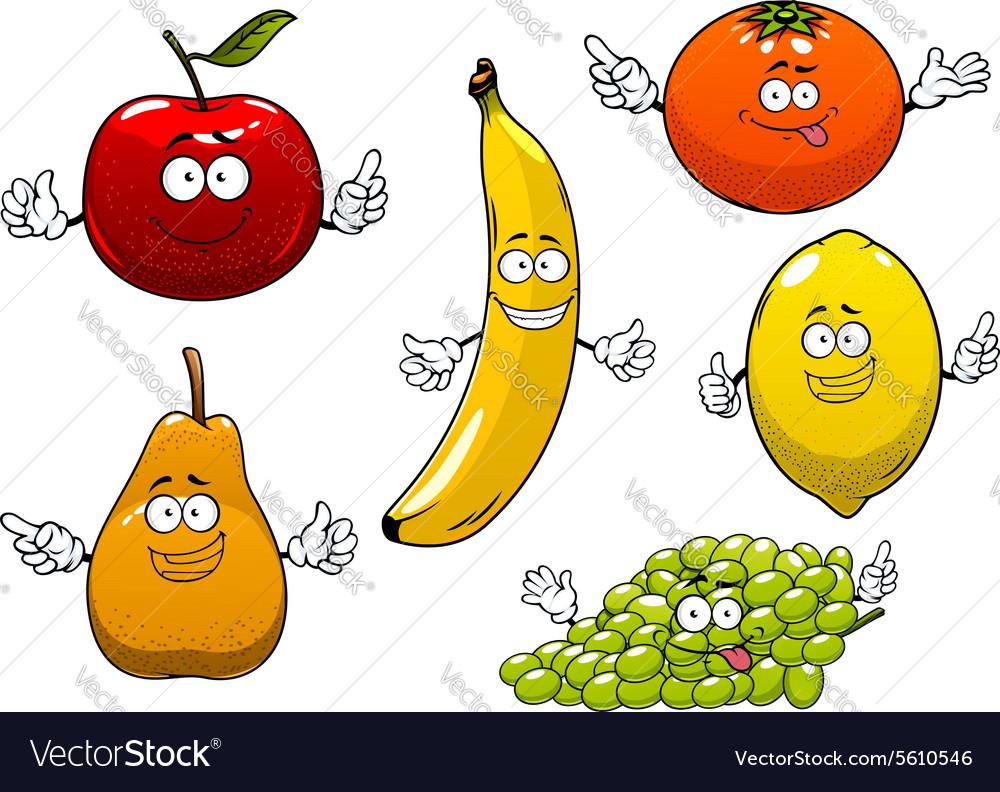 Apple pear banana orange grape and lemon vector image