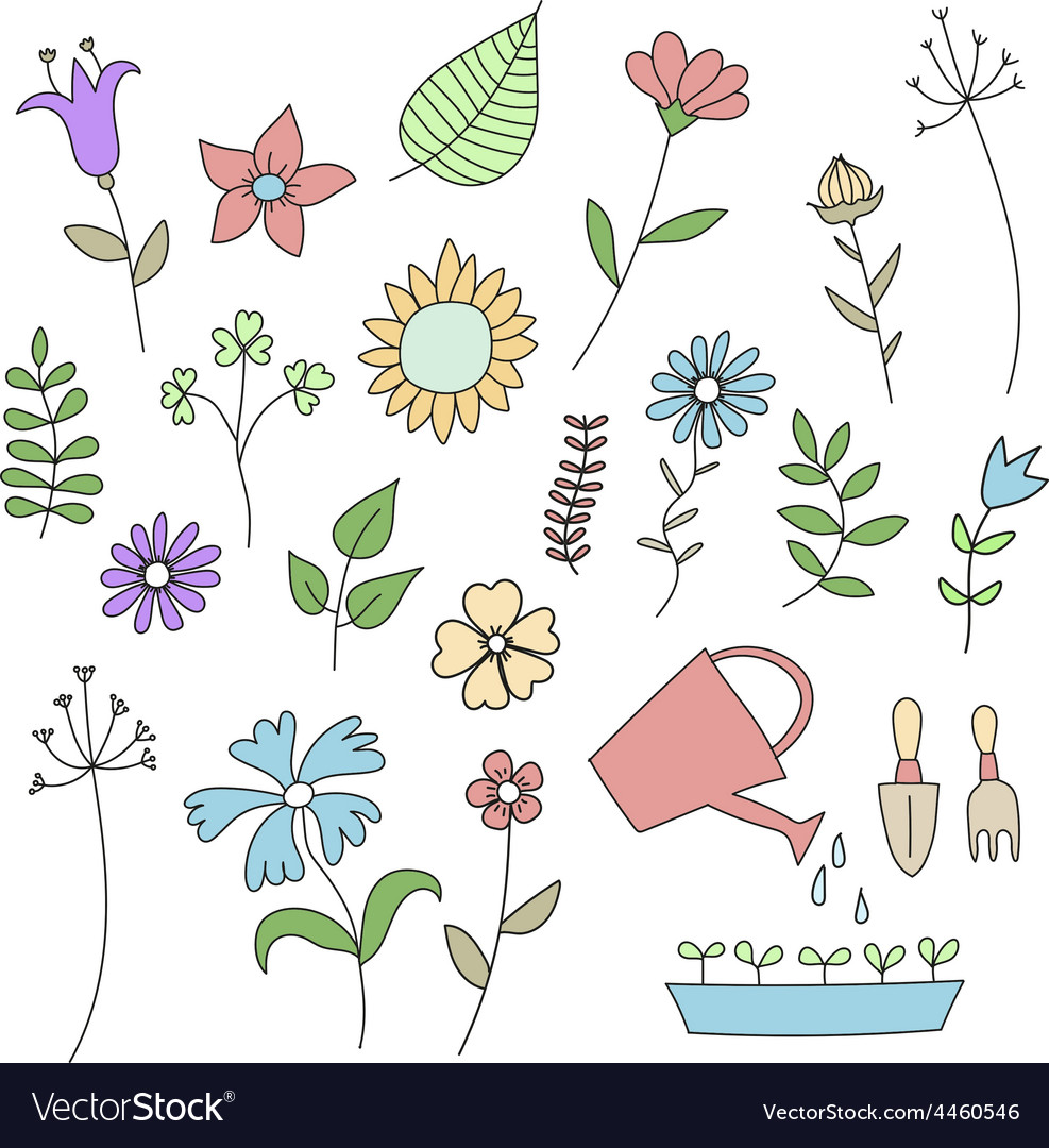 set of doodle flowers and plants royalty free vector image