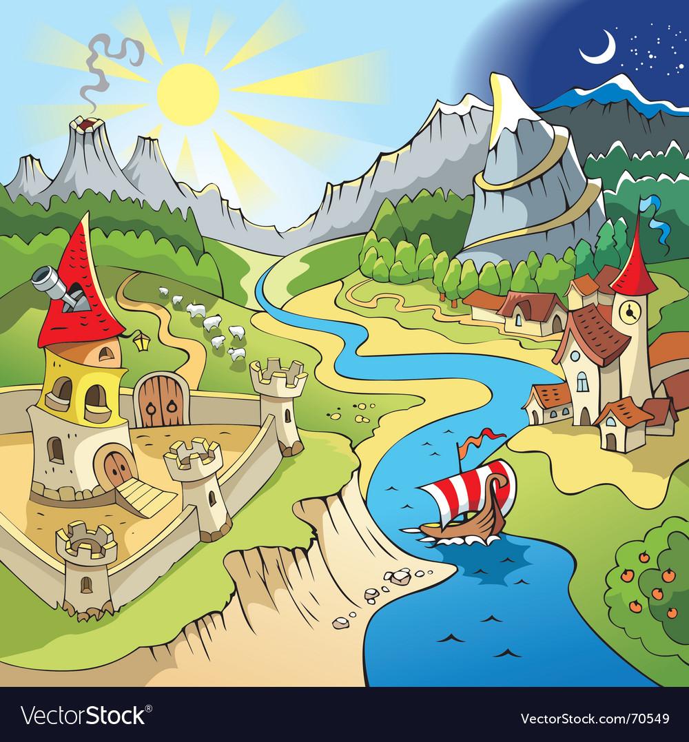 Fairy-tale landscape vector image