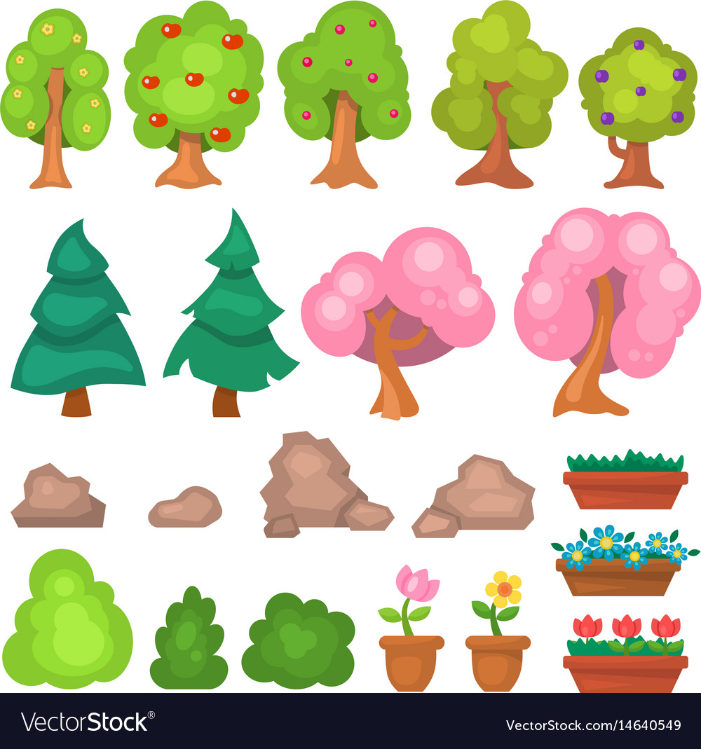Flowers grass big and small garden trees and vector image