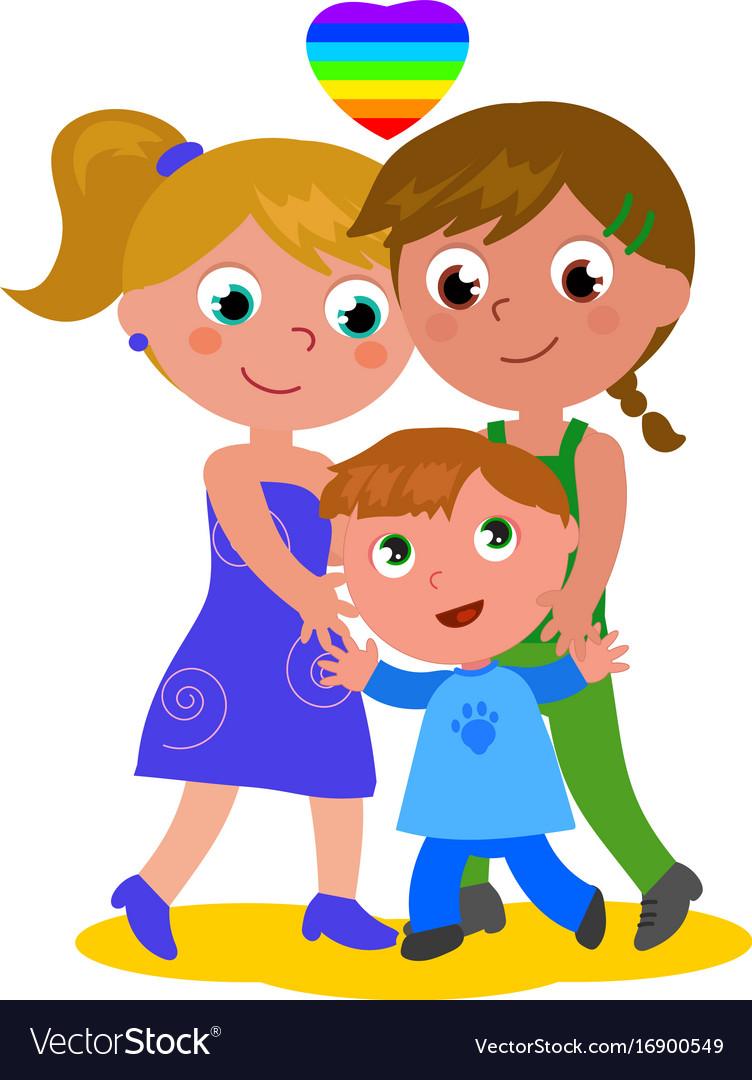 Lesbian family vector image