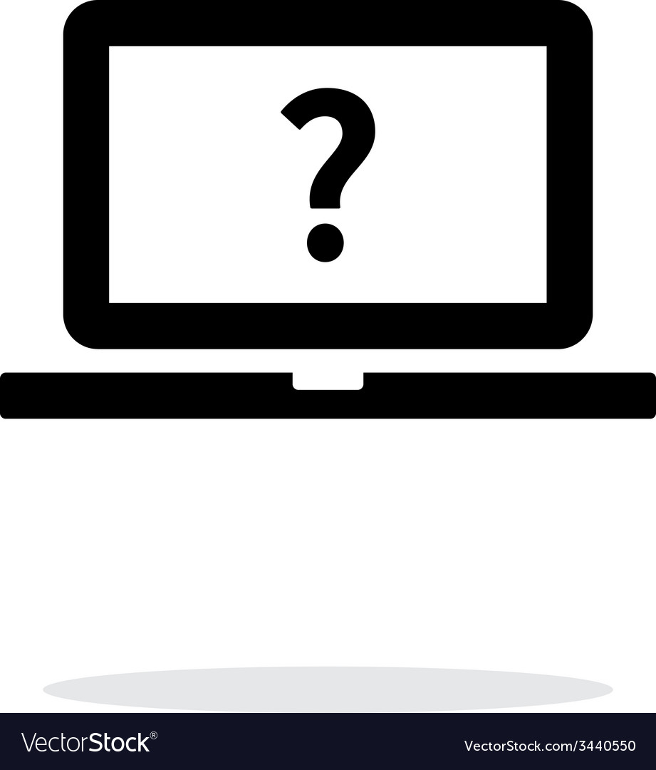 Help and FAQ laptop icon on white background vector image